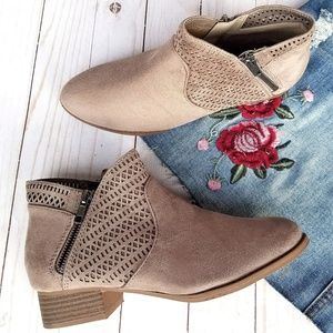 New Taupe Cutout Low Heel Booties Ankle Boots